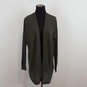 LOFT olive green open front light weight cardigan
